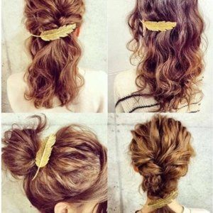 Brandy Melville Gold Metal Feather Boho Hair Clip